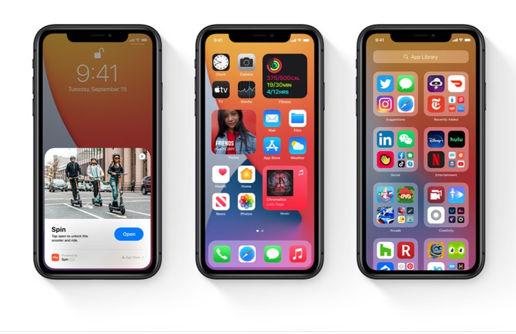 iPhones showing features of iOS14