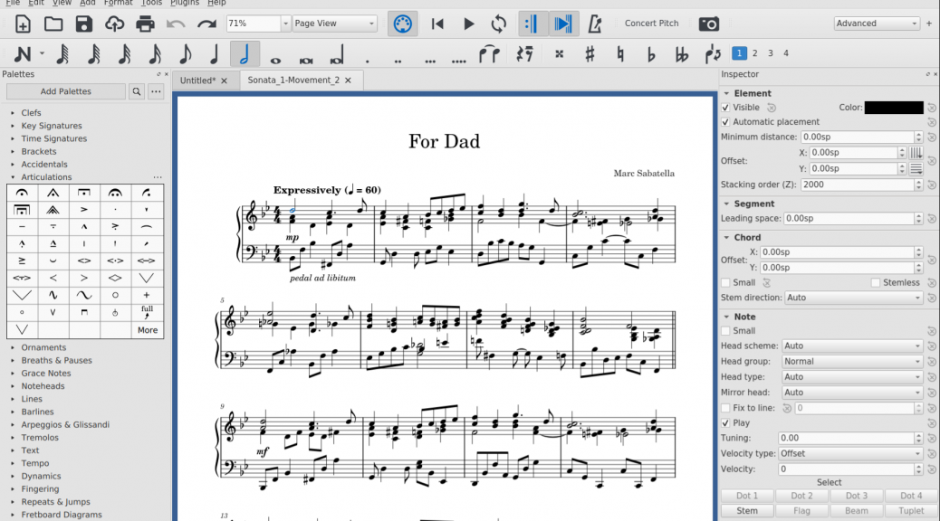 screenshot of MuseScore with partial score