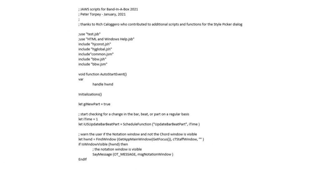 Segment of JAWS script