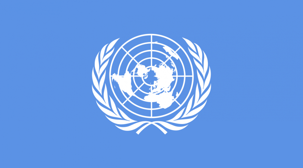 UN flag (pale blue with white globe and olive branches)
